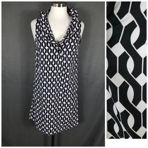 4/10- Small black white print shift dress